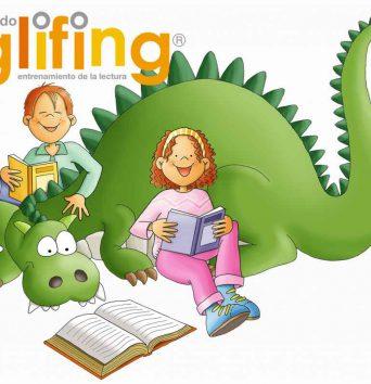 logo glifing con personajes dragon beth y glif